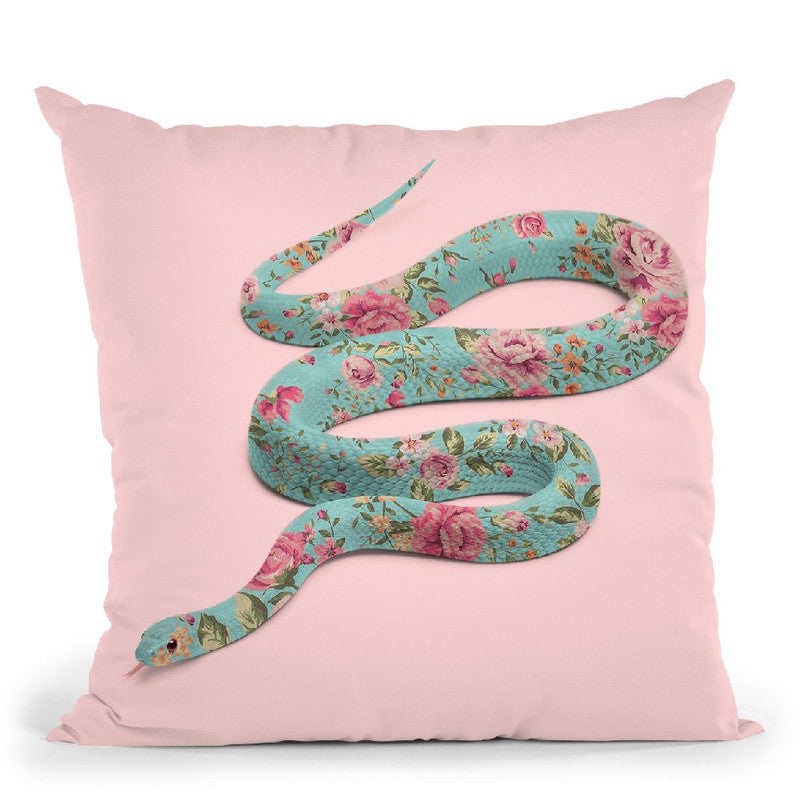 Floral Snake Throw Pillow By Paul Fuentes