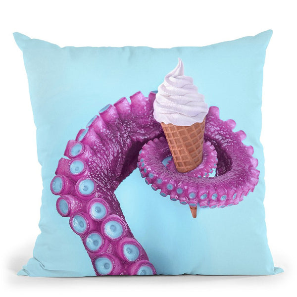 Octopus Ice Cream Throw Pillow By Paul Fuentes