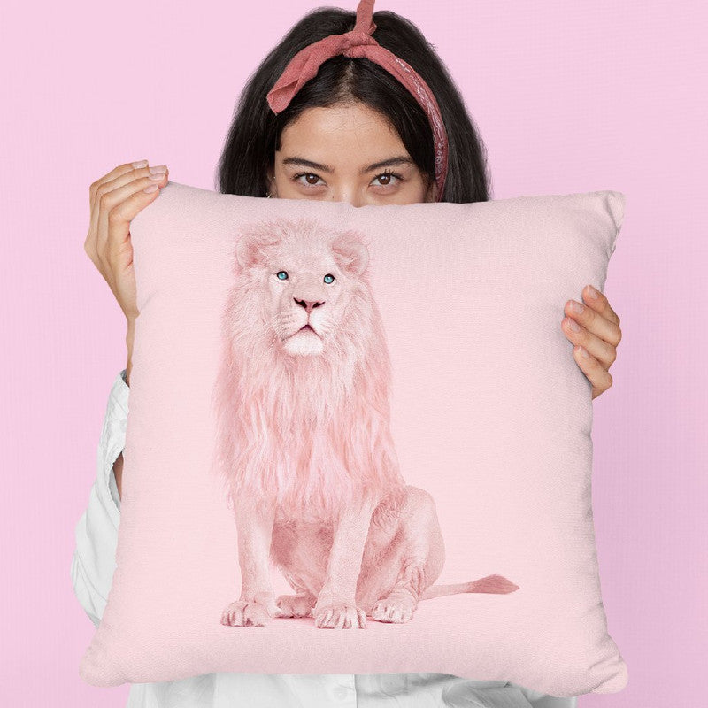 Pink Lion Throw Pillow By Paul Fuentes All About Vibe