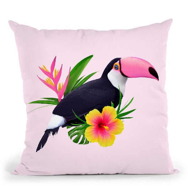 Pink Toucan Throw Pillow By Paul Fuentes