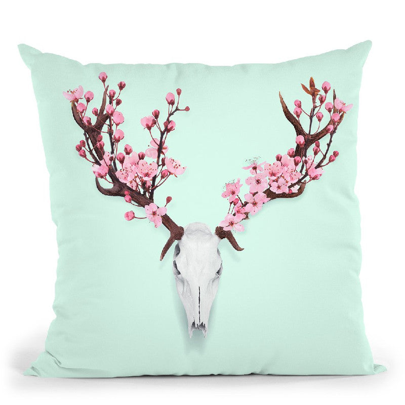 Skull Cherry Throw Pillow By Paul Fuentes