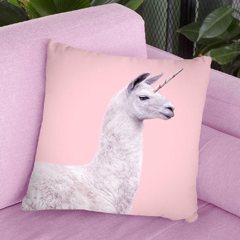 Unicorn Lama Throw Pillow By Paul Fuentes