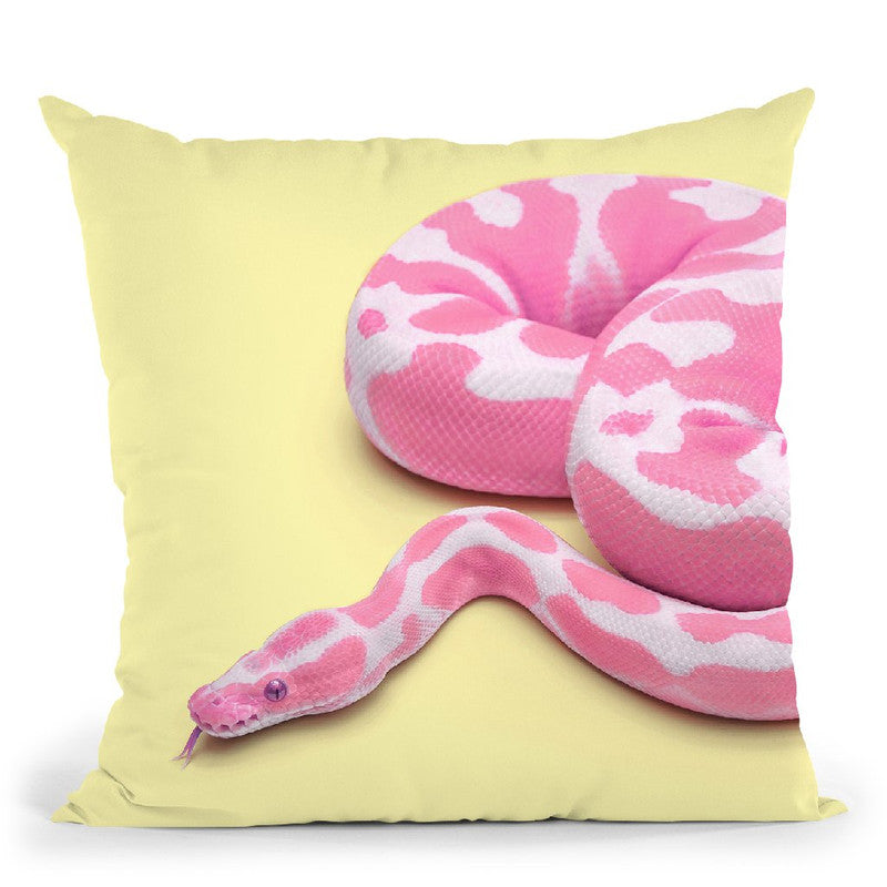 Yellow Snake Throw Pillow By Paul Fuentes