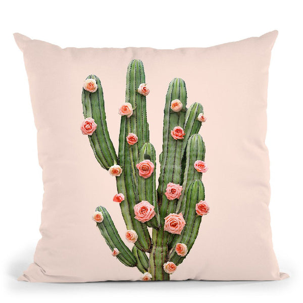 Cactus And Roses Throw Pillow By Paul Fuentes