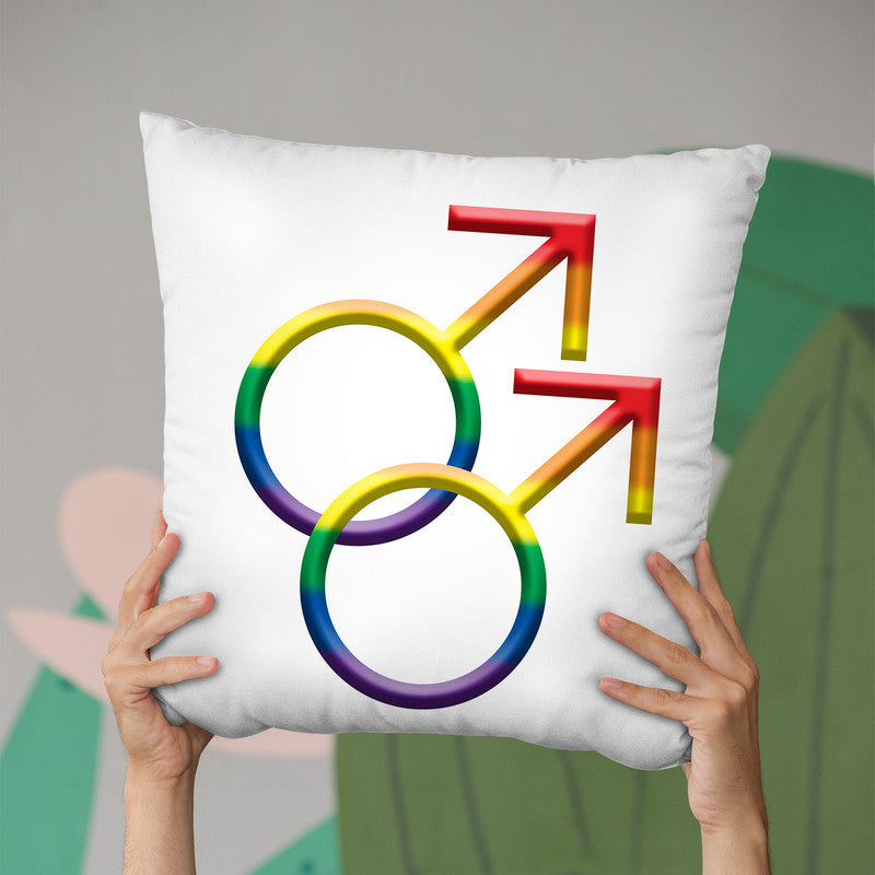 Guy Sign Gay Pride Throw Pillow By Pride Designs - by all about vibe