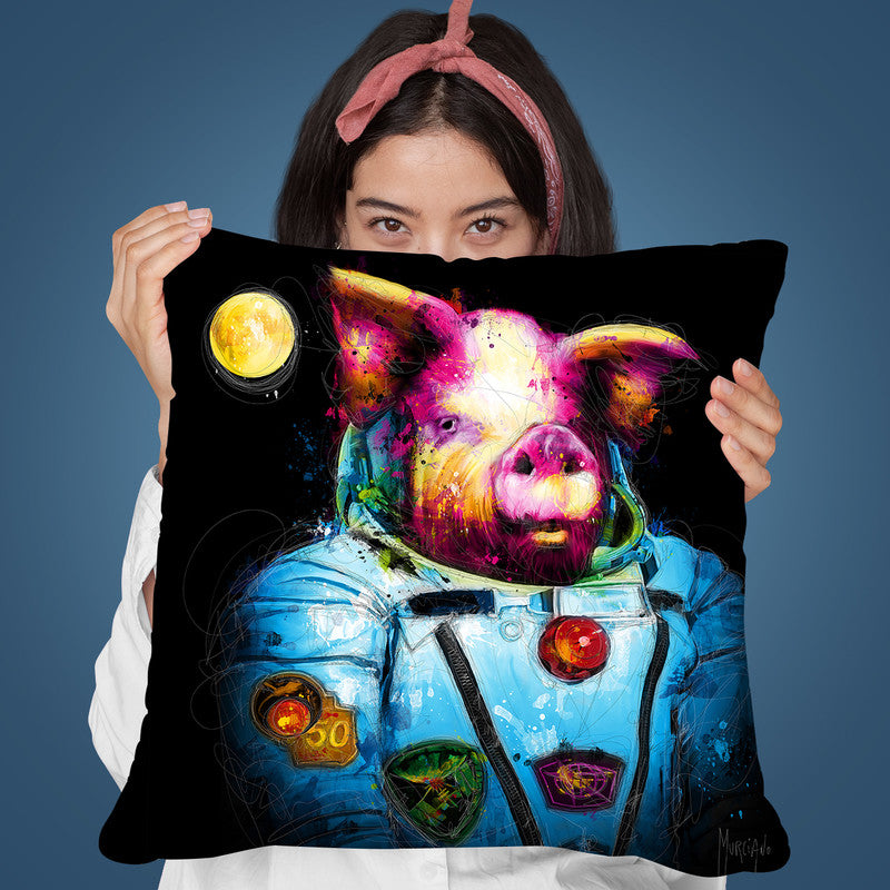 First Pig In Space Throw Pillow By Patrice Murciano