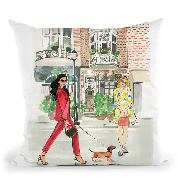 City Walk In The Spring Throw Pillow By Rongrong