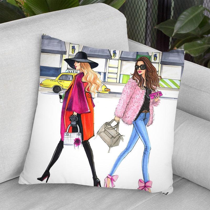 Feburary Pink Fashionistas Throw Pillow By Rongrong