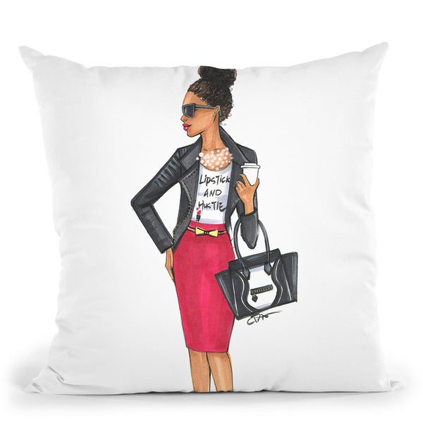 Girl Boss-African American Girl Throw Pillow By Rongrong