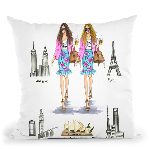 Girlbooss Around The World 2 Throw Pillow By Rongrong