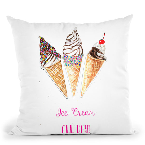 Ice Cream All Day Throw Pillow By Rongrong