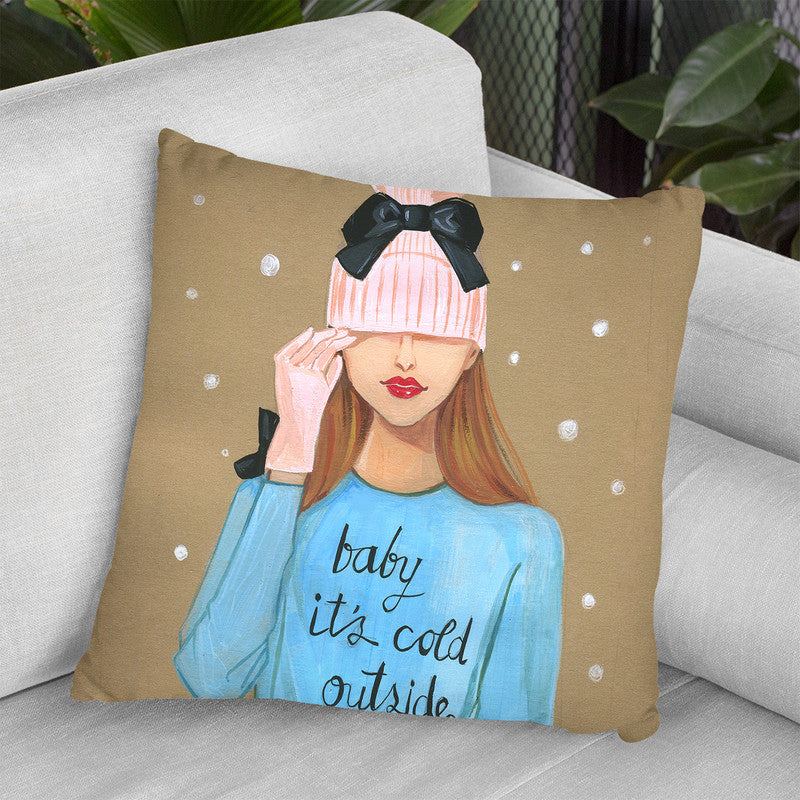 Baby Is Cold Outside Throw Pillow By Rongrong