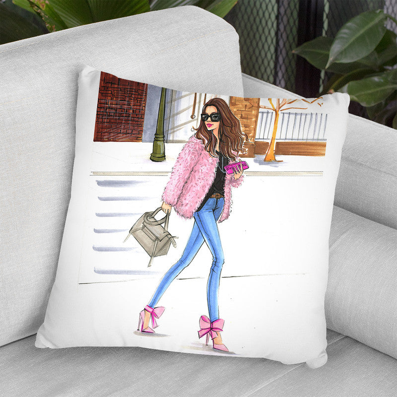 Pink Fashionistas Throw Pillow By Rongrong