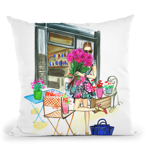 Smell The Flowers Throw Pillow By Rongrong