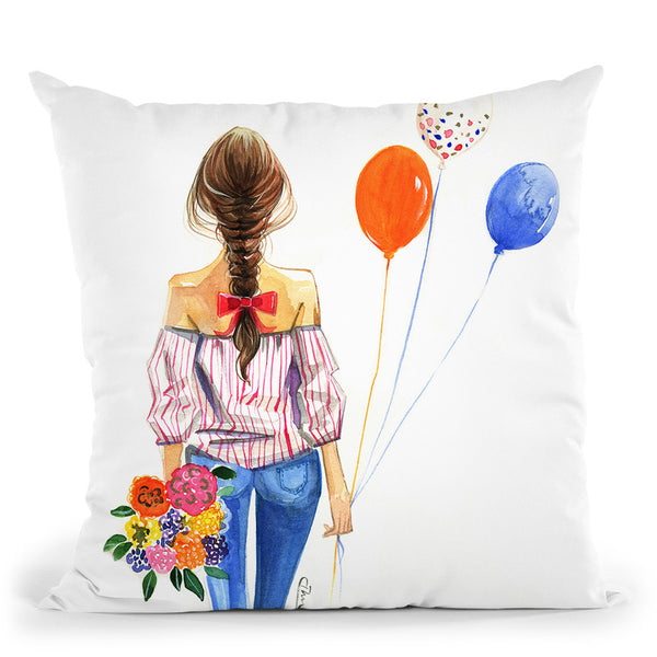 Balloon Girl Throw Pillow By Rongrong