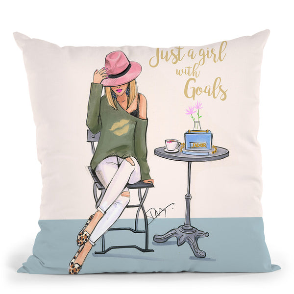 A Girl With Goals Throw Pillow By Rongrong