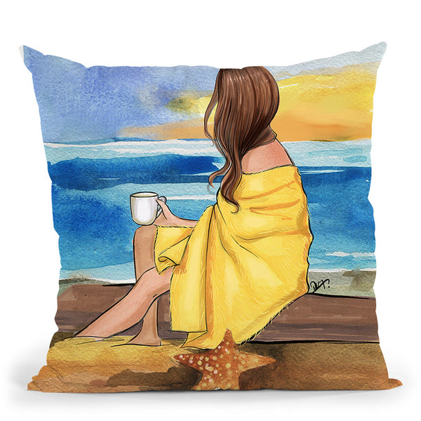 Coffee On The Beach Throw Pillow By Rongrong