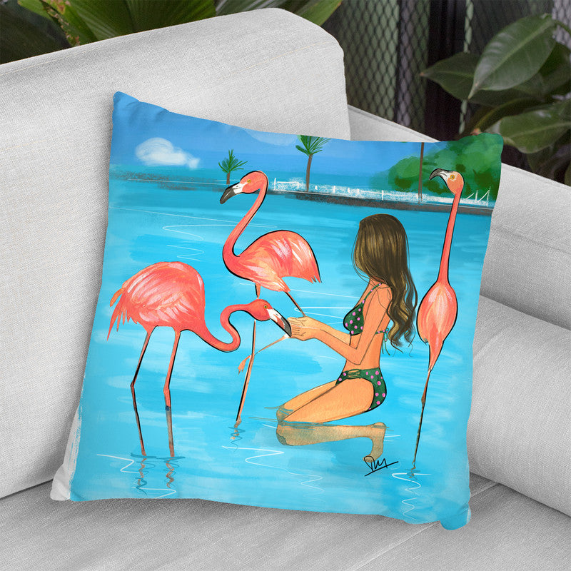 Feed Flamingos Throw Pillow By Rongrong