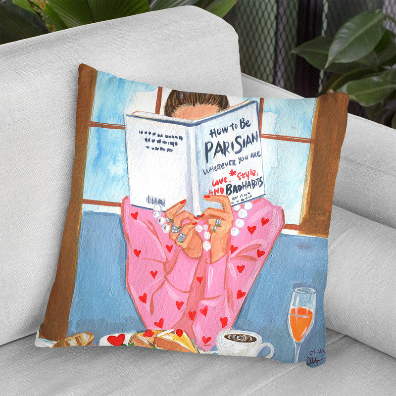 How To Be Parisian Breakfast Time Throw Pillow By Rongrong
