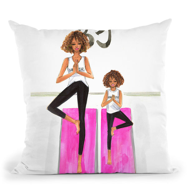 Mom And Daughter Yoga Throw Pillow By Rongrong