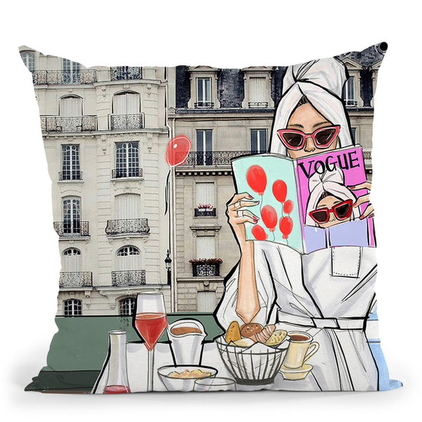 Rd Self Care Collection-Woke Up In Paris Throw Pillow By Rongrong