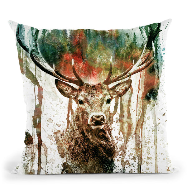 Deer Throw Pillow By Riza Peker