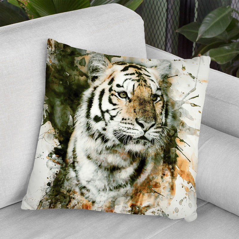 Tiger Throw Pillow By Riza Peker