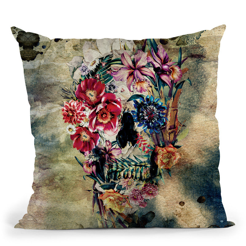 Skull On Old Grunge Throw Pillow By Riza Peker