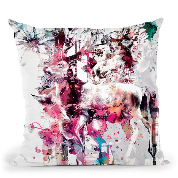Deers Throw Pillow By Riza Peker