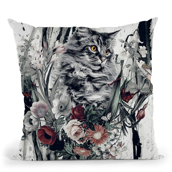 Cat In Flowers Throw Pillow By Riza Peker
