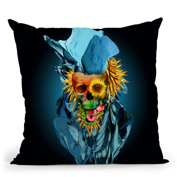 Floral Skull Vivid Iv Throw Pillow By Riza Peker