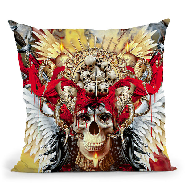 3 Eyes Skull Throw Pillow By Riza Peker