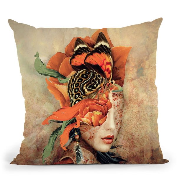 Butterfly Lady Throw Pillow By Riza Peker