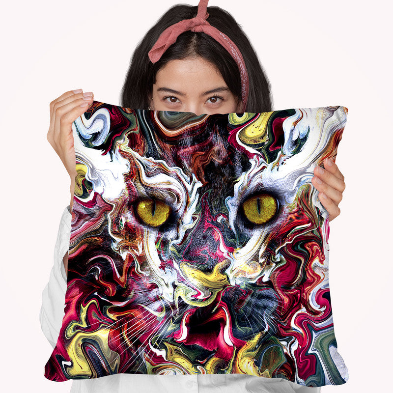 Cat Abstract Throw Pillow By Riza Peker