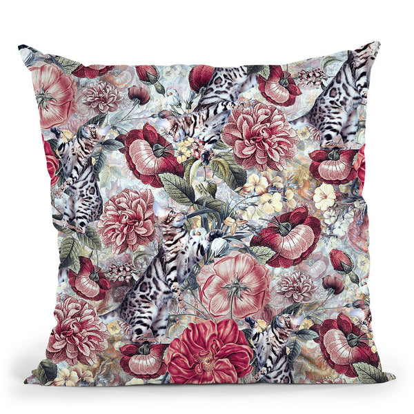 Cats In Flowers Throw Pillow By Riza Peker