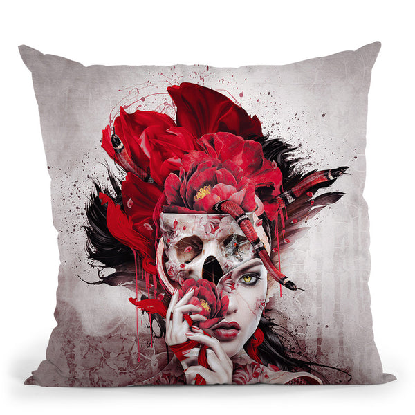 Poisonous Flowers Throw Pillow By Riza Peker