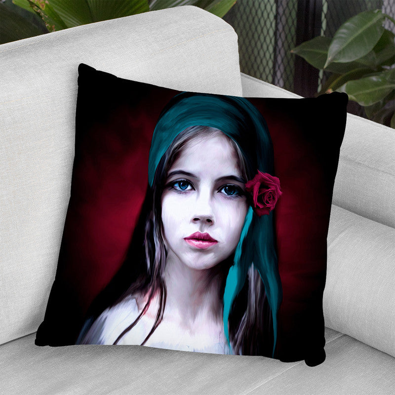 Woman With Rose Throw Pillow By Riza Peker