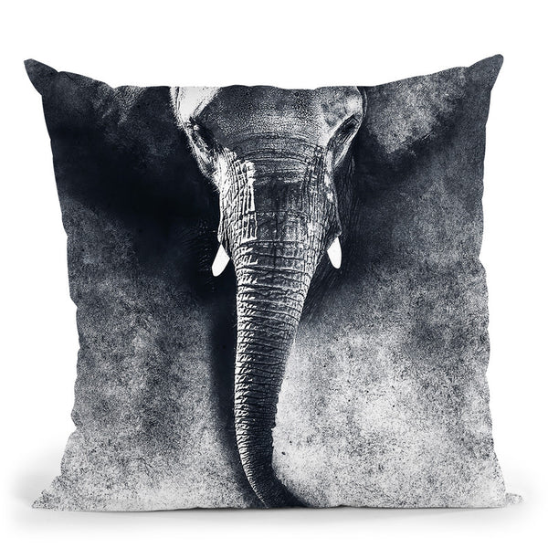 Elephant Black And White Throw Pillow By Riza Peker