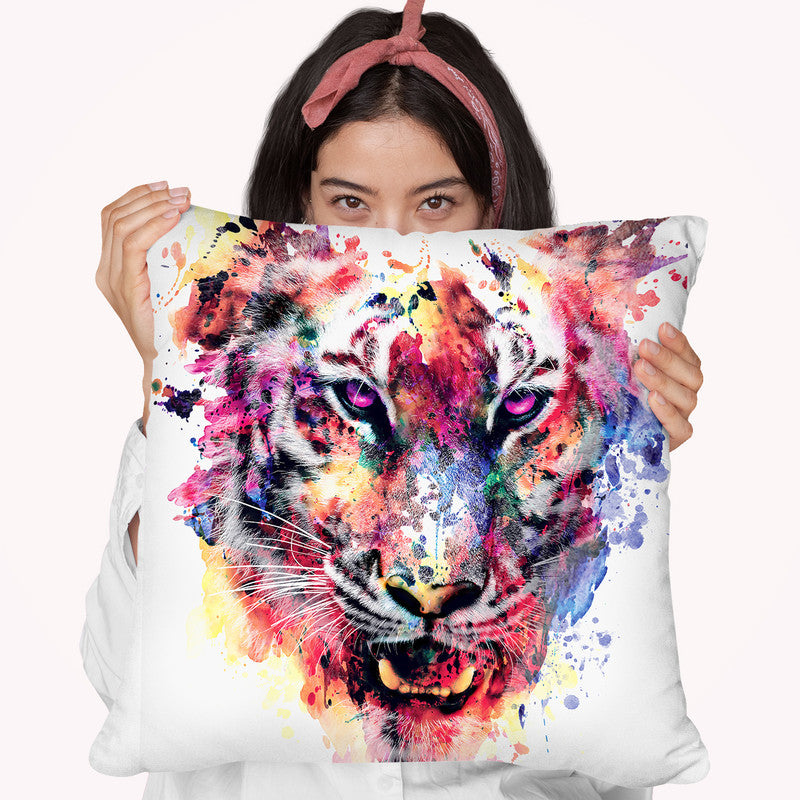 Eye Of The Tiger Throw Pillow By Riza Peker