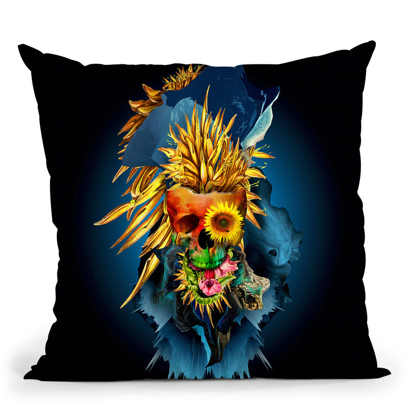 Floral Skull Vivid Iii Throw Pillow By Riza Peker