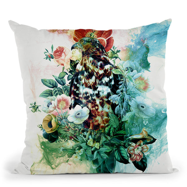 Bird In Flowers Throw Pillow By Riza Peker