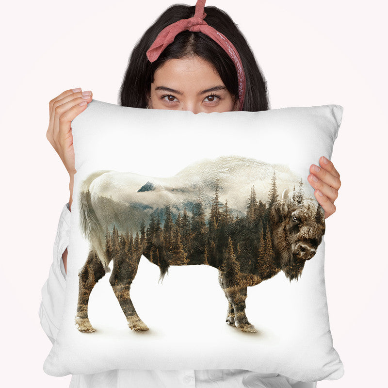 Bison Throw Pillow By Riza Peker