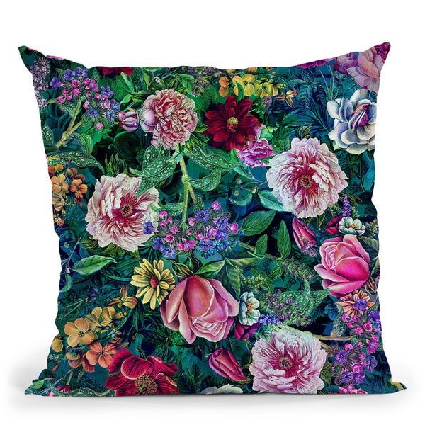Botanical Flowers Ii Throw Pillow By Riza Peker