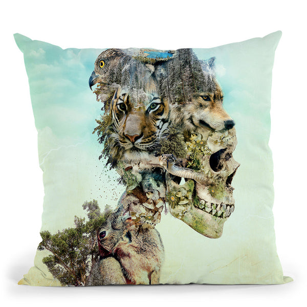 Nature Skull Throw Pillow By Riza Peker