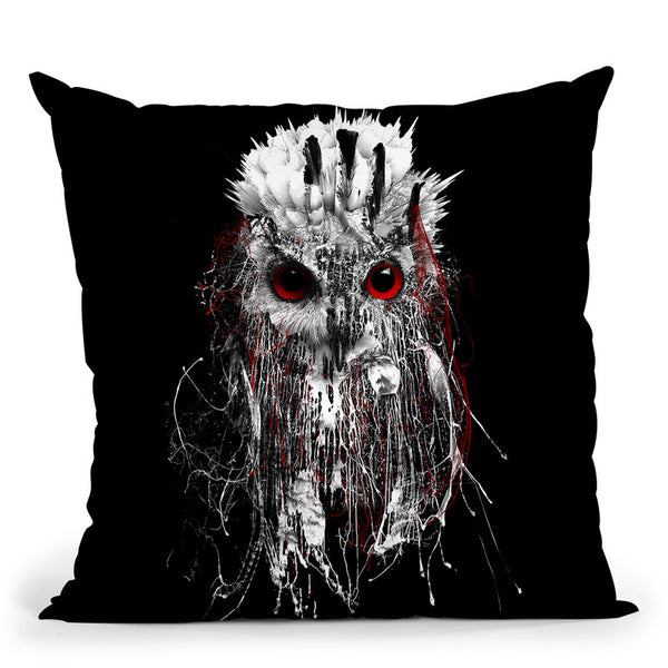 Owl - Red Eye Throw Pillow By Riza Peker