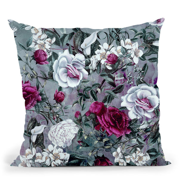 Botanical Flowers Throw Pillow By Riza Peker