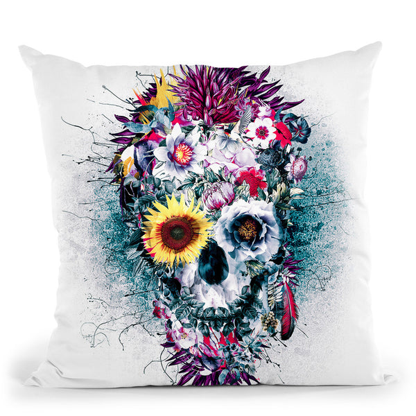 Skull Blue Throw Pillow By Riza Peker