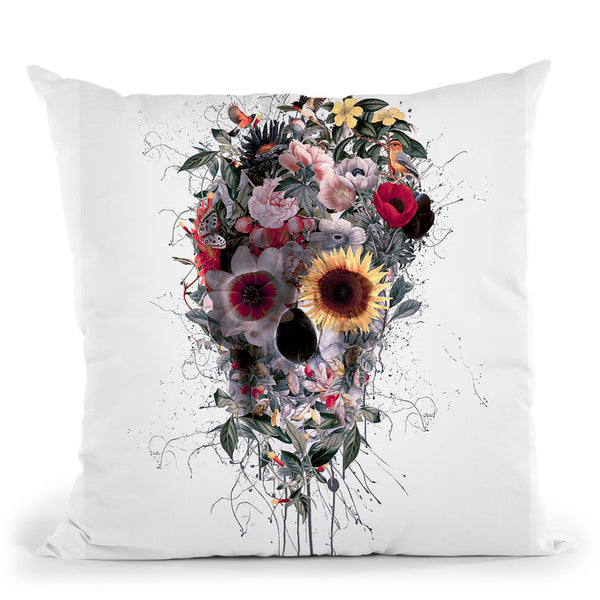 Skull Floral Throw Pillow By Riza Peker