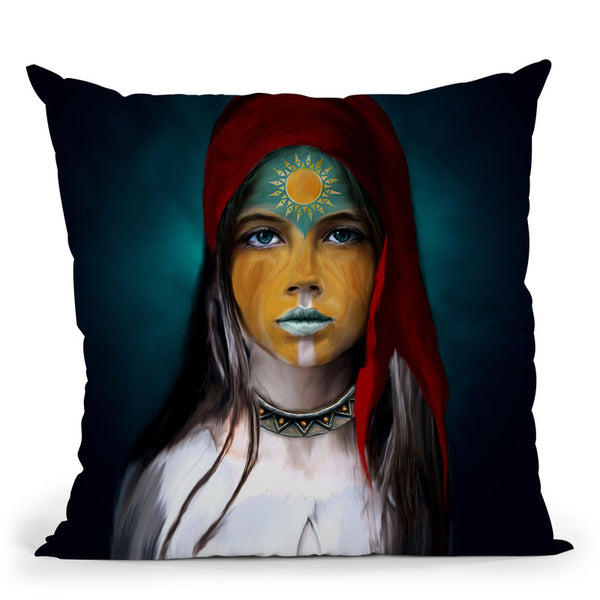 Chalchiuhtlicue Throw Pillow By Riza Peker