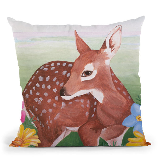 Deer In Flower Field Throw Pillow By Sally B
